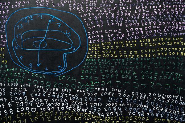 Картина Черный художника Ибрагимчика на выставке Новые городские художники на площадке Государственного музейно-выставочного центра РОСИЗО в Москве. Новые городские - проект петербургских кураторов Евгении Штиль и Стаса Багса, который вовлекает художников с особой ментальностью в современное искусство.