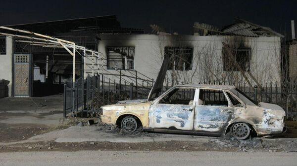 Сгоревшее авто в селе Масанчи