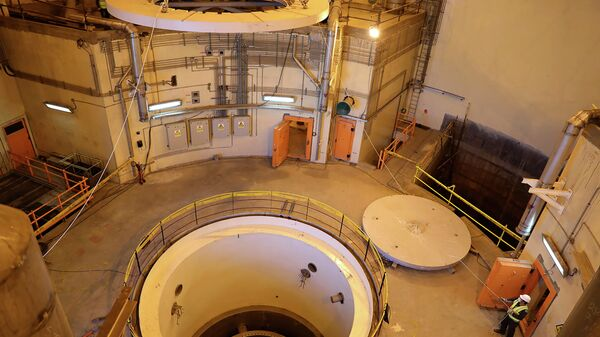 Атомный реактор ядерной электростанции в иранском городе Арак во время проведения технических работ