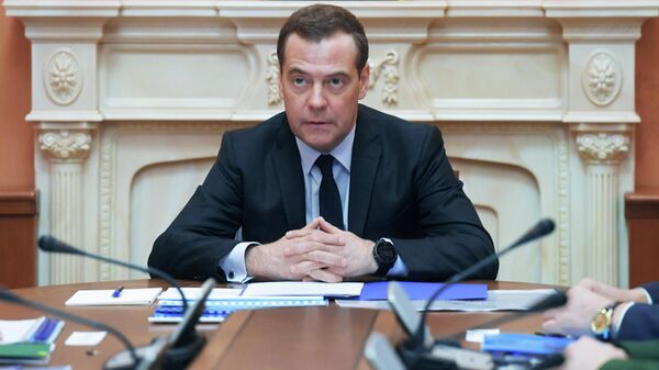 Заместитель председателя Совета безопасности РФ Дмитрий Медведев проводит совещание, посвящённое состоянию госкорпорации Роскосмос