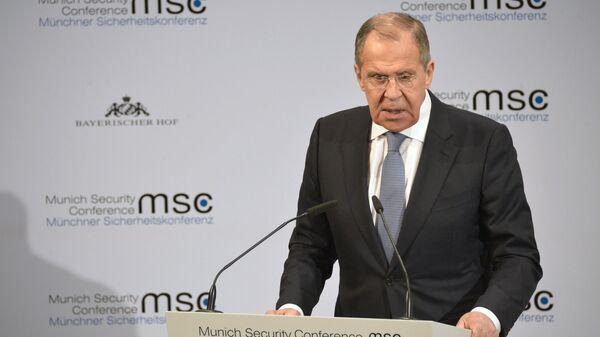 Министр иностранных дел РФ Сергей Лавров выступает на Мюнхенской конференции по безопасности
