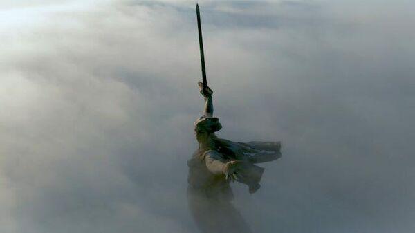 Монумент Родина-мать зовет! с высоты птичьего полета