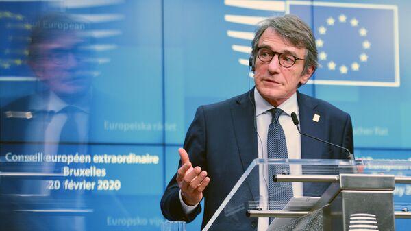 Председатель Европарламента Давид Сассоли на саммите ЕС в Брюсселе