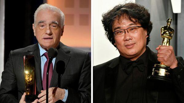 Американский кинорежиссер Мартин Скорсезе и южнокорейский кинорежиссер и сценарист Пон Чжун Хо