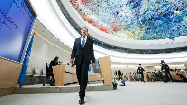 Министр иностранных дел РФ Сергей Лавров на Конференции по разоружению 2020 в рамках сегмента высокого уровня 43-й сессии Совета ООН по правам человека