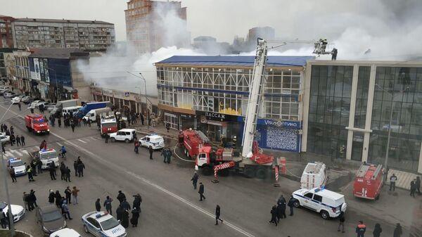 Пожар в ТЦ Пассаж в Махачкале