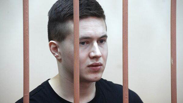 Участник запрещенной в РФ террористической организации Сеть Виктор Филинков на выездном заседании Московского окружного военного суда в Санкт-Петербурге