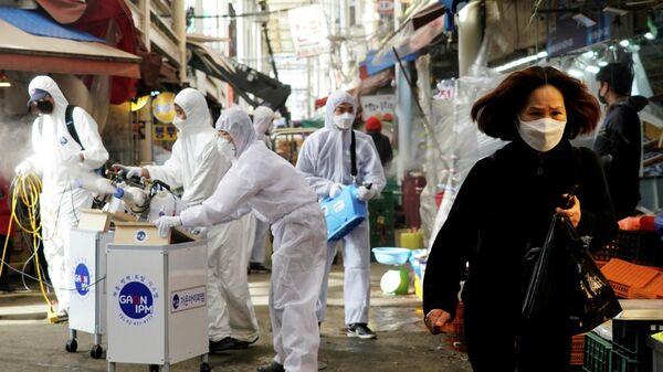 Дезинфекция рынка в Сеуле