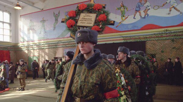 Похороны воинов-десантников 104-го парашютно-десантного полка 76-й гвардейской Псковской дивизии, погибших в бою с чеченскими боевиками у высоты 776