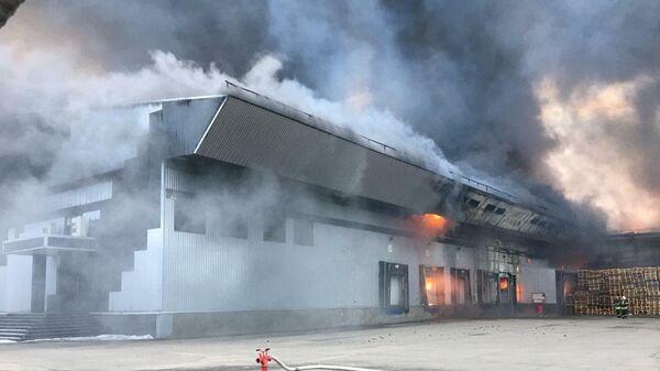 Пожар на овощной базе в Подмосковье