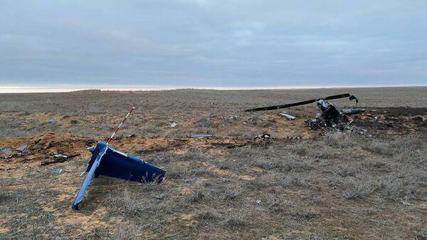 На месте падения вертолета в Наримановском районе Астраханской области