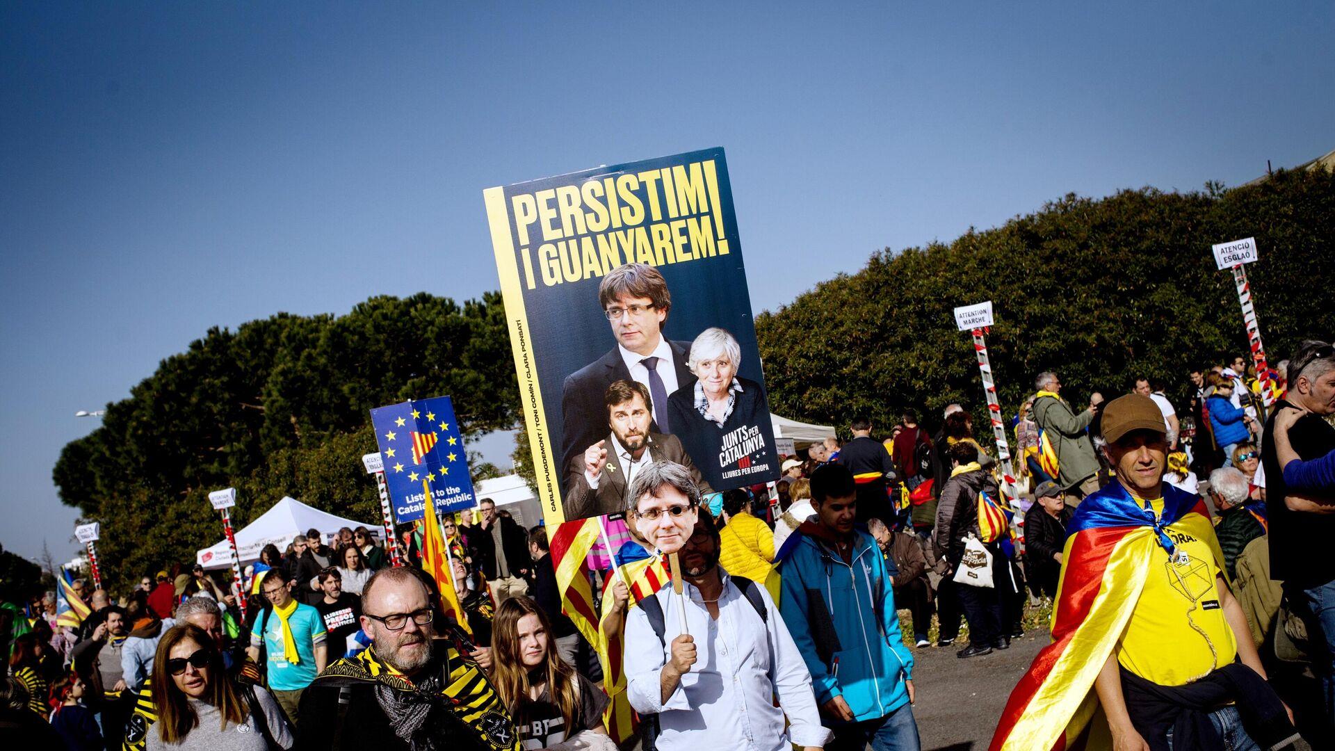 Сторонники независимости Каталонии на митинге в Перпиньяне во Франции - РИА Новости, 1920, 29.10.2020