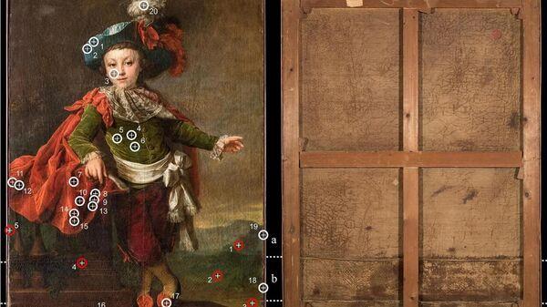 Дмитрий Левицкий Портрет Ф. П. Макеровского в маскарадном костюме, 1789 г. Красным показаны места отбора проб для последующего анализа. Как видно, исследователи избегали участков центральной части портрета. Белым отмечены точки проведения рентгенофлуоресцентной спектроскопии, не требующей отбора проб