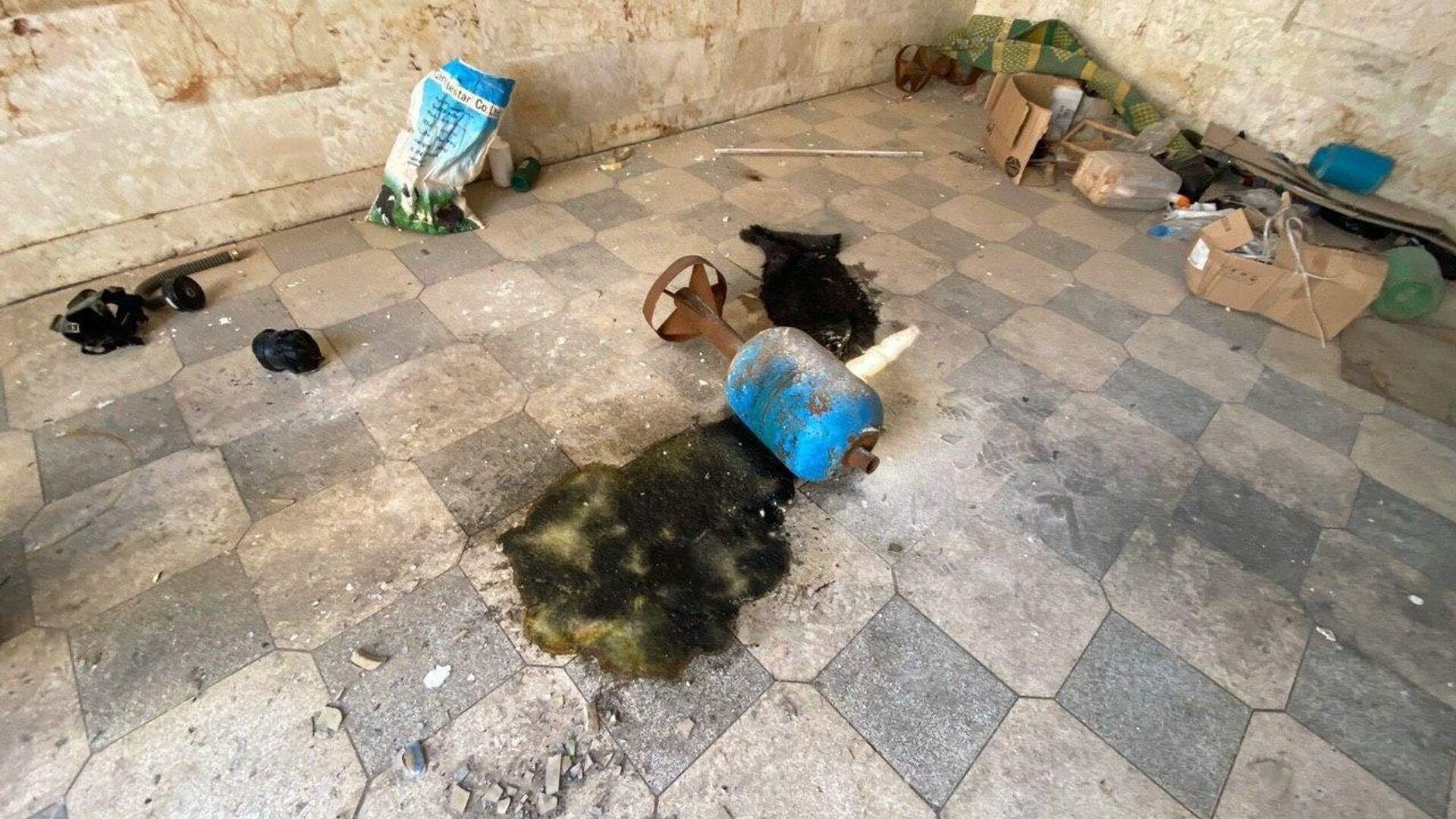 Место, где террористы готовили провокацию с химически отравляющим веществом в городе Саракеб в провинции Идлиб, Сирия - РИА Новости, 1920, 30.11.2020