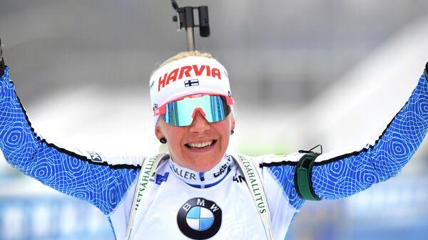 Трехкратная обладательница Кубка мира по биатлону финка Кайса Мякяряйнен