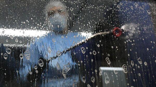 Санитарная обработка автобусов в рамках борьбы с предотвращением коронавируса