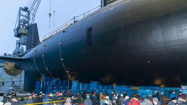Спуск на воду атомной подлодки проекта Ясень-М в Северодвинске