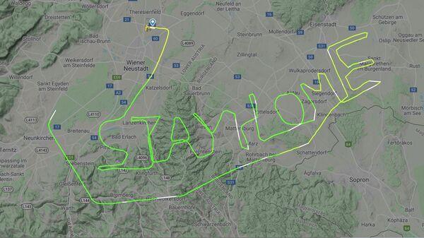 Траектория полета полета австрийского летчика на сайте Flightradar24