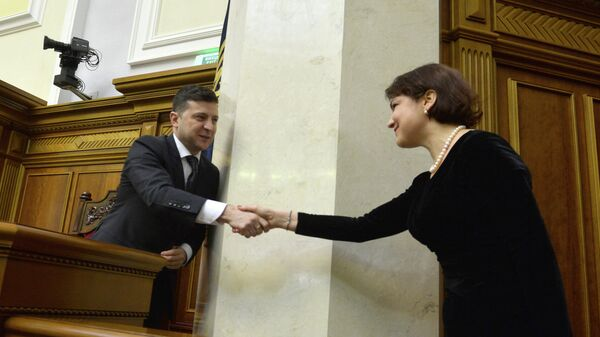 Президент Украины Владимир Зеленский и Ирина Венедиктова. 17 марта 2020