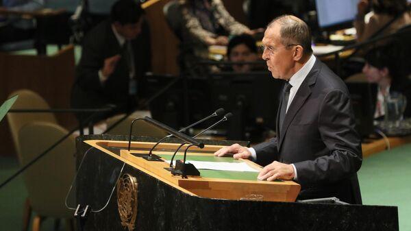 Министр иностранных дел РФ Сергей Лавров во время выступления на общеполитической дискуссиии в рамках 74-й сессии Генеральной Ассамблеи Организации Объединенных Наций (ООН) в Нью-Йорке