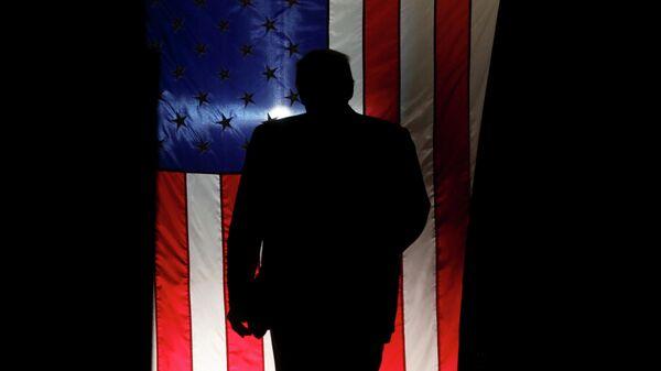 Президент США Дональд Трамп на фоне американского флага