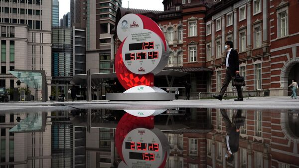 Часы обратного отсчета до Олимпийских игр в Токио, Япония