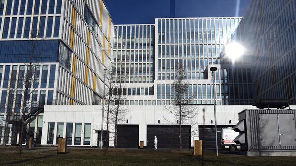 Здание больницы, предназначенной для пациентов с подозрением на коронавирус, в московском поселке Коммунарка