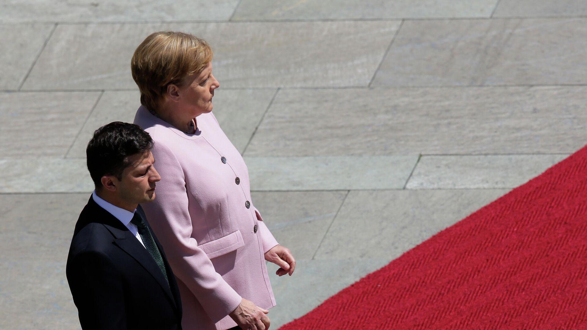 Встреча Владимира Зеленского и Ангелы Меркель в Берлине. 18 июня 2019 - РИА Новости, 1920, 22.06.2021