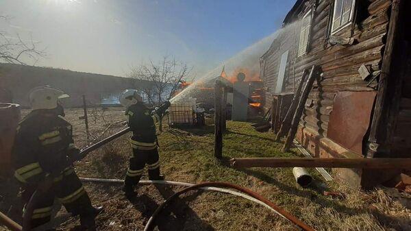 Пожар деревне Просеницы Меленковского района Владимирской области. 28 января 2020