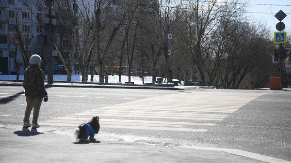 Прохожий с собакой на одной из улиц Москвы