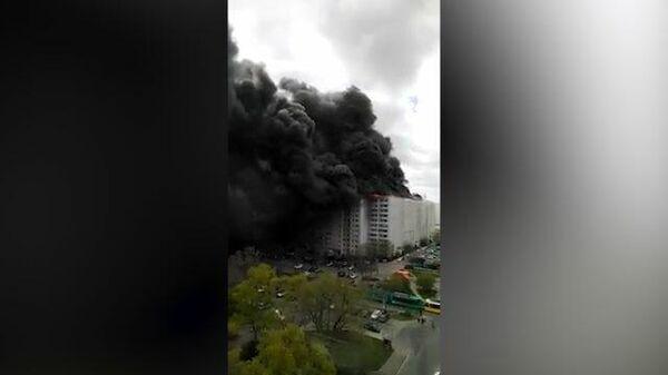 Видеокадры очевидцев пожара на северо-востоке Берлина