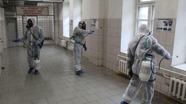 Дезинфекция во время санитарного дня в учреждениях системы ФСИН