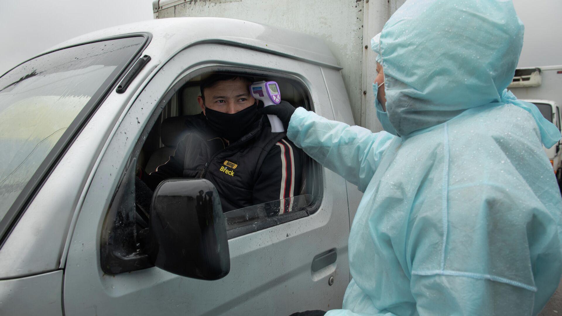 Медицинский работник проверяет температуру у водителя на блокпосте при въезде в Алма-Ату - РИА Новости, 1920, 04.11.2020