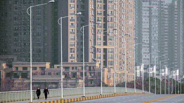 Улица в городе Ухань во время карантина