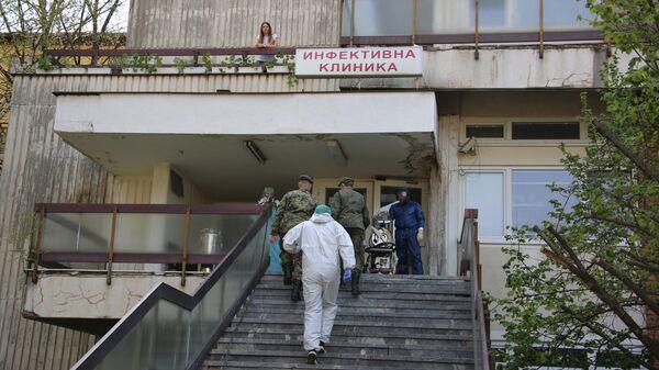 Госпиталь в городе Ниш, который российские военные специалисты готовят к приему пациентов во время эпидемии коронавируса nCoV-2019