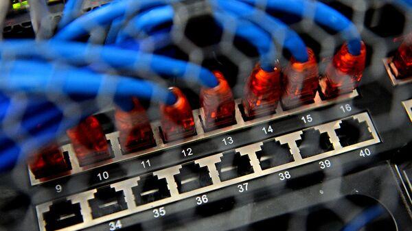 Сервер в машинном зале в центре обработки данных