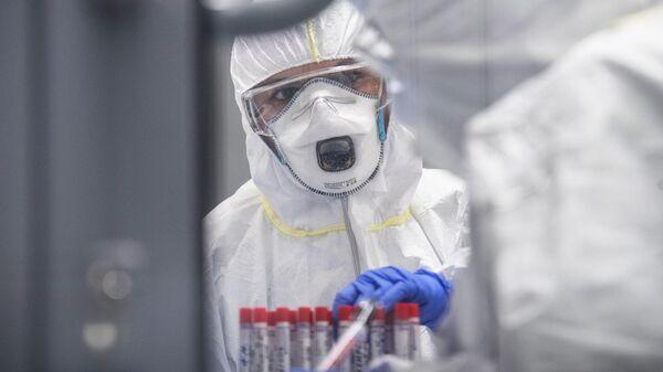 Сотрудники лаборатории проводят тесты на коронавирус
