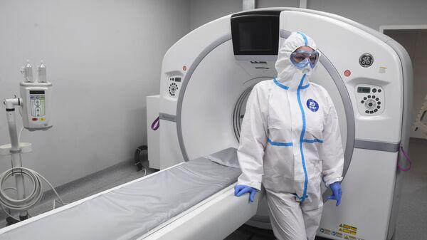 Аппарат компьютерной томографии (КТ) в инфекционном центре в Новой Москве