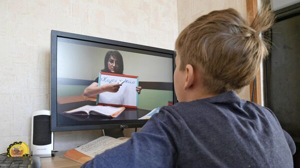 Мальчик занимается в школе онлайн в условиях самоизоляции