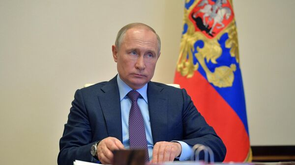 Президент России Владимир Путин проводит в режиме видеоконференции совещание о мерах по поддержке российской экономики