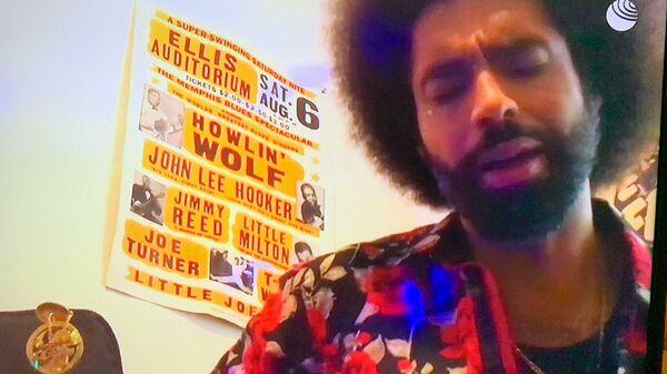 Скриншот выступления Selwyn Birchwood на благотворительном онлайн-марафоне Doctor Jazz Party