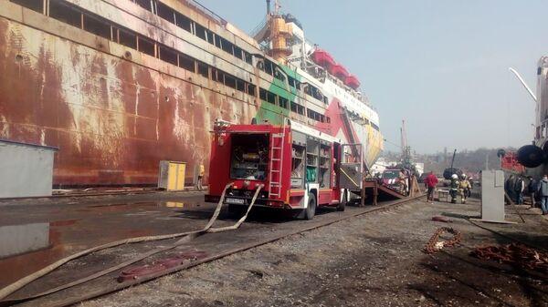 Пожар на плавзаводе в Находке