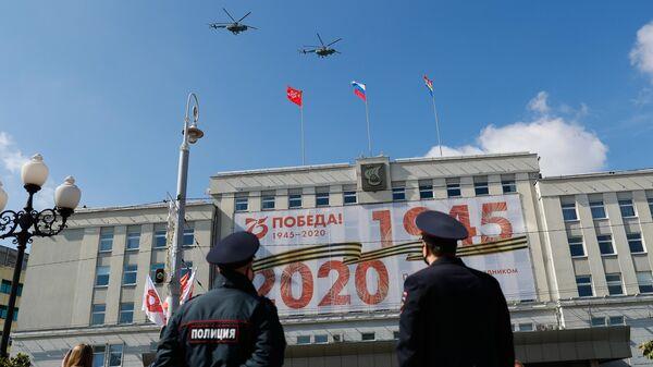 Многоцелевые вертолеты Ми-17 на воздушном параде Победы в Калининграде