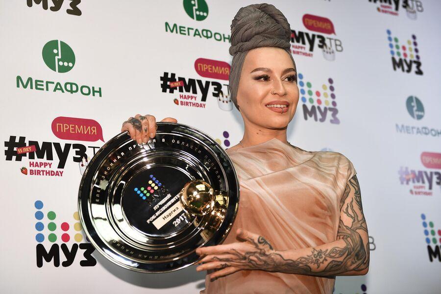 Певица Наргиз Закирова, получившая награду в номинации Лучший рок-исполнитель