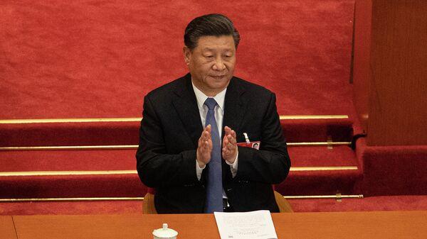 Председатель КНР Си Цзиньпин во время заседания Всекитайского собрания народных представителей в Пекине