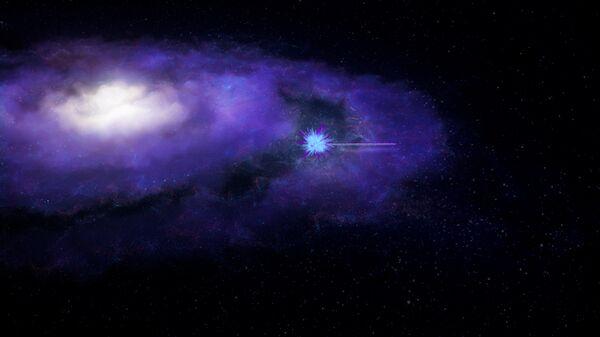Так в представлении художника выглядит быстрый радиовсплеск, покидающий свою галактику