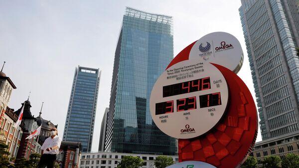 Часы отчета до начала Олимпийских игр в Токио, Япония