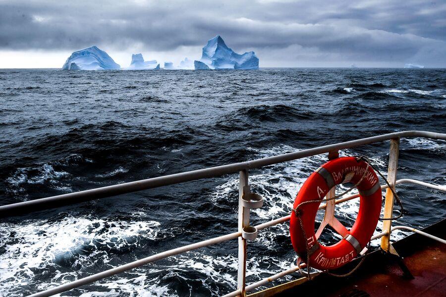 Вид на айсберги с борта исследовательского судна Балтийского флота Адмирал Владимирский во время плавания к антарктической станции Беллинсгаузен