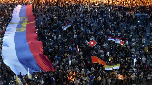 Протест под руководством храма Воскресения Христова в Подгорице, Черногория,