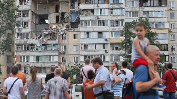 Жилой девятиэтажный дом в Киеве, где произошел взрыв бытового газа